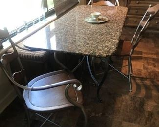 Great Dining/Kitchen Table or Desk with an iron base and granite top $275, Set of Three Iron and Leather Chairs $75 each