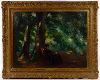 Otto Peters Austrian 1858 1908 Under the Trees Oil on Canvas