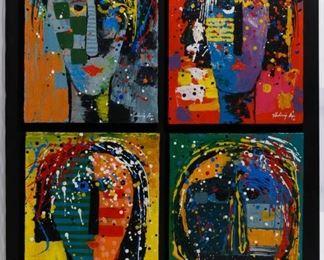 Vladimir Cora American Mexican b.1951 Los Mirones Oil on Canvas on Board