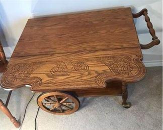 Oak Bar Cart with Glass Shelf