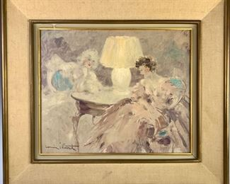 "Louis Icart (1888-1950) ""Intimite"" Oil on Board"