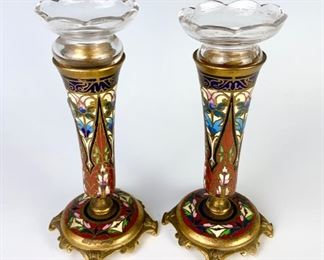 Pair Antique French Champleve, bronze and glass vases
