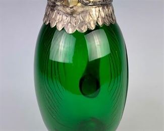 Emerald Glass & Silver-plated  Owl Decanter with amber glass eyes