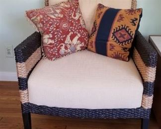 Wicker chair (navy and tan)
