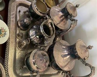 Silver tea set - brass candlesticks / silver candlesticks. Silver serving trays