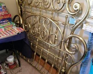 #24brass full bed frame $200.00