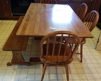 #11farm house plateform dining table w bench ad 4 chairs 60x35x30 $175.00