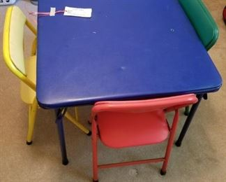 #26kid folding table w 4 chairs blue table green/yellow chairs  $25.00