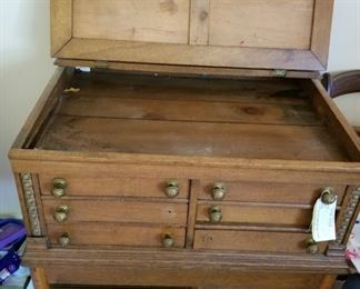#13Antique oak 6 drawer printer desk that has been modified 33x24x35 $200.00