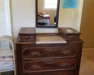 #27antique dresser w 5 drawers and mirror & stone  top41x18x42 $250.00