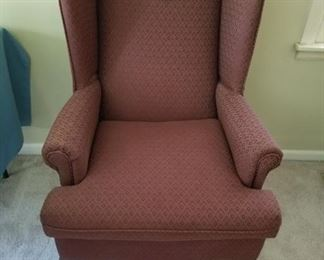 #2Wine color wing back chair w claw feet  $75.00
