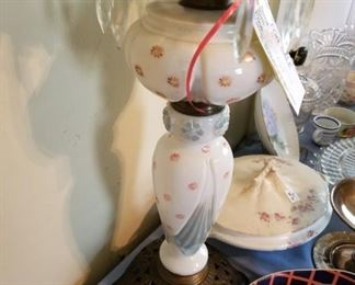 #31 white with pink dot lamp w/ prism hanging   $125.00
