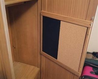 #22wood locker type cabinet w 1 door, 1 drawer, chalk board, 2 shelves24x17.5x57 $100.00