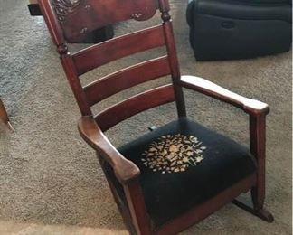 Antique Rocker with Mother of Pearl Inlay