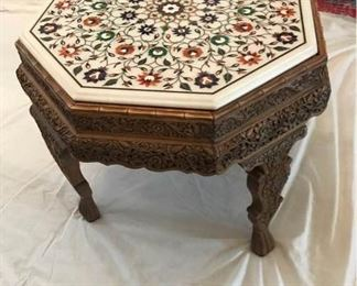 Marble Top Table with Exquisite Carvings