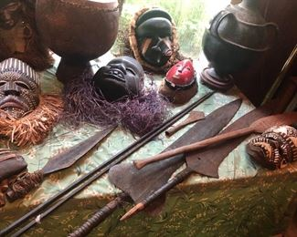 Antique African Ebony Masks, Spears, Throwing Knives & Tribal Weapons