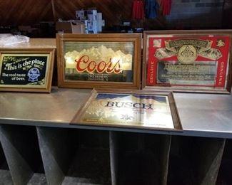 4 Framed Beer Signs