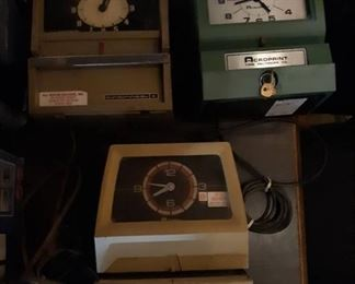 (3) Vintage Time Recording Punch In Clock