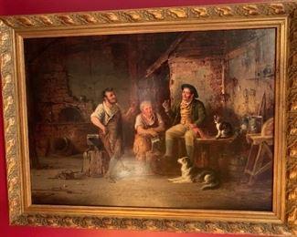 19th Century English Oil on Artist Board, signed G(eorge) Hepper, 1866 (British, d. 1868) Blacksmith shop w/ signature  15 1/4 x 21 1/2