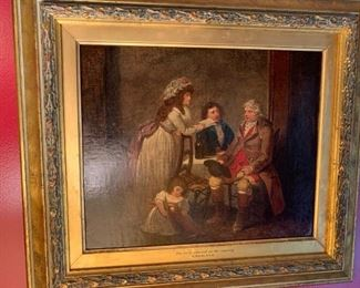 """One of a pair of early 19th  Century English Oils on Canvas attributed to George Morland. In modern frames but retain gold leaf liners with titles and artist, the canvases relined, no signature found. """"The Farmers Visit to His Married Daughter in Town"""" 11 x 13 1/2.  Note: Frames were switched during cleaning and restoration."""