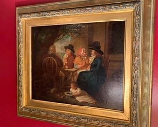 """One of a pair of early 19th  Century English Oils on Canvas attributed to George Morland. In modern frames but retain gold leaf liners with titles and artist, the canvases relined, no signature found. """"The Visit Returned in the Country"""" 11 by 13 1/2 W"""