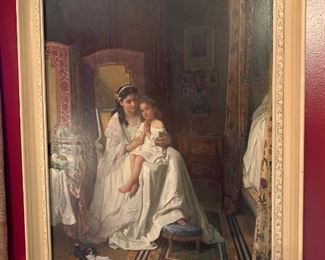 """19th Century Flemish Oil on Wood Panel, signed C. Baugniet (1814-1886): highly detailed genre scene, signed lower left- 26"""" x 20"""" W"""