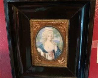 """18th Century French Miniature Portrait on Ivory; of a lady, reputed to be Lady Hamilton, in original brass frame with velvetmat and subsequently framed in a black molding frame- 3 1/4"""" x 2 1/2"""" oval, 8 1/4 x 7"""" overall."""
