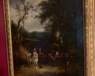 """19th Century English Oil on Canvas, attributed to Wm. Shayer. Pastoral scene with gypsy camp, no signature found, several flakes & scratch to surface, one tear- 24"""" x 20"""" W"""
