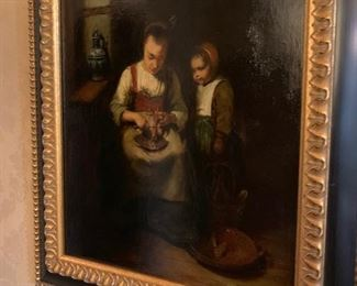 """""""Cleaning Fish"""" 12"""" x 14"""", oil/mahogany, Artist unknown/Flemish. Excellent condition,"""
