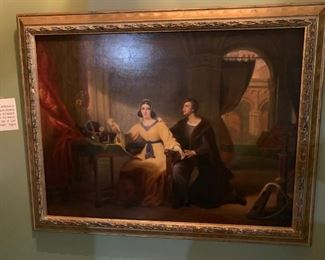 """19th Century French Oil on Wood Panel, attributed to Henri Joseph Fradelle (1778-1865), scene showing Heloise & Abelard.  Label affixed to the reverse states """"This picture purchased at the sale at Lord Northwick's """"Thistanell House"""", Chiltenham, August 1859""""- 21"""" x 28"""" W"""