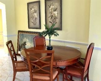 """Lexington Granby 58"""" Round Cherry-Stain Dining Table w/Unique Outer Leaf - $595 - (58W w/o leaf,  30H) (Four 10-1/2W leaves - Table 79""""W w/l eaves attached)"""