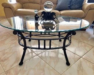 Oval Glass Top (w/Scalloped Edge) Coffee Table w/Metal Base - $45