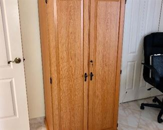 Compact Locking Home Office/Cupboard w/file drawer, pull-out desk - $60 - (30W  24D  64H)
