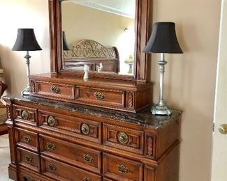 Multi-Tier Marble-top Dresser w/Valet and Mirror - $285 - (68W  20D)