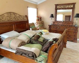 Ornate 4-Piece King Bedroom Set - $750 Set (Save $70!)  Including: King Head/Foot Board w/side rails - $300 - (82W  91L) Multi-Tier Marble-top Dresser w/Valet and Mirror - $285 - (68W  20D) Armoire - $150 - (42W  22D  72H) Night Stand w/Marble top - $85 - (32W  17D  28H)