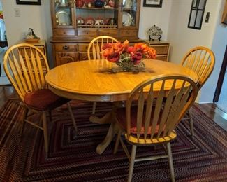 $250   Oak round table with chairs