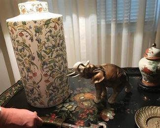 Vintage table, and collector elephant and porcelain.