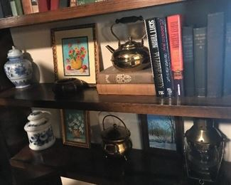 Very old brass and glass lantern, as well as hobby art and brass teapot