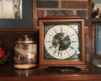 Tobacco jar and Linden mantle clock
