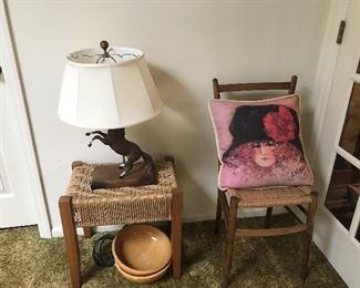 Berea college stool, nice horse lamp, and cane bottom chair
