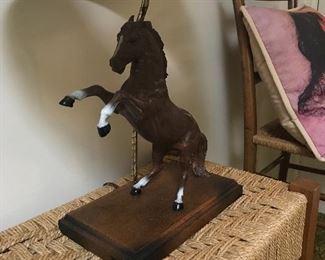 Nice horse lamp and handmade furniture.
