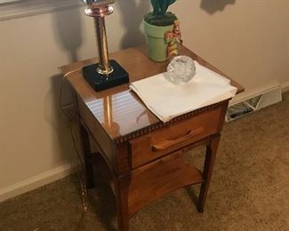 Vintage side table , glass cover. Unusual lamp