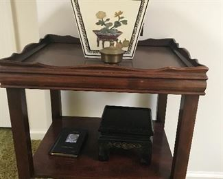 Nice vintage table, with Chinese tea box, buyer to verify. Thought to be adorned with jade inlay. Buyer to verify