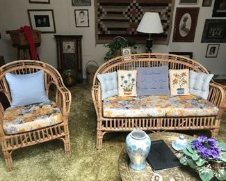 Rattan / wicker loveseat and chair