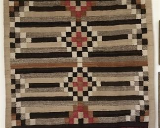 "Stylized rug in 3rd phase chiefs blanket design. Not warranted, buyer to authenticate. 51 &1/2 "" x 54"""