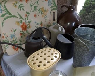 Copper watering cans, flower frogs candles