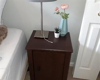 Wooden Night Stand, Metal Lamp