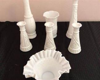 Milk Glass Vases & Bowl https://ctbids.com/#!/description/share/208379