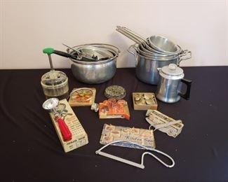 Vintage Aluminum Pots & Utensils https://ctbids.com/#!/description/share/210835