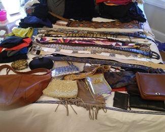 Ladies purses, belts, etc